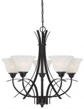 Westinghouse 6340400 - 5 Light Chandelier Amber Bronze Finish with White Alabaster Glass